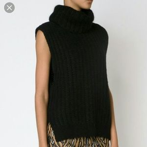 Lands End Sleeveless Black Cowl Neck Sweater
